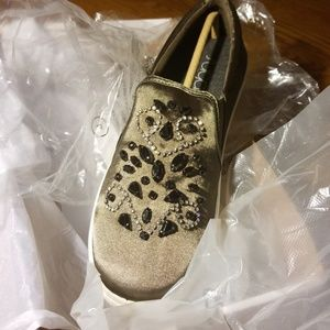 1fcc991fbe884 Sugar Shoes - Sugar Grasshopper Olive Satin Bling Slip Sneaker